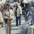 """Louis de Funès lors du tournage du film """"Le Gendarme et les gendarmettes"""" en novembre 1982."""