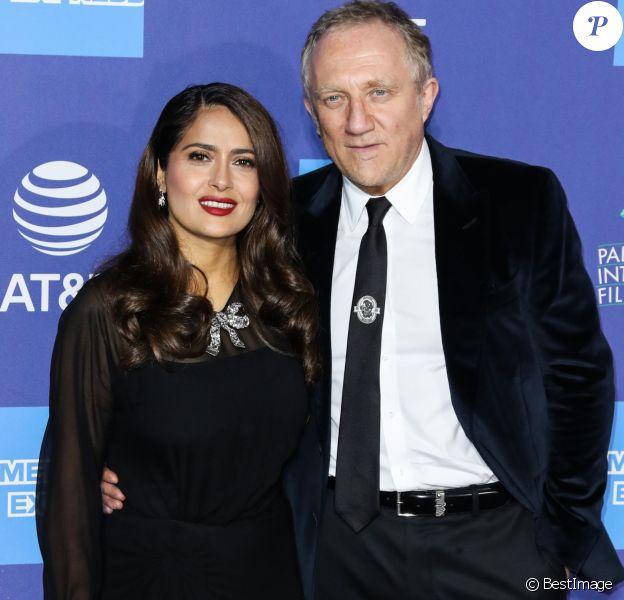 """Salma Hayek et son mari Francois-Henri Pinault au photocall d'ouverture de la 31ème édition du """"Palm Springs Film Festival"""