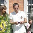 Frnck Ribéry reçoit la médaille de la ville de Boulogne-sur-mer, aux côtés de sa femme Wahiba, le 14 juillet 2006.