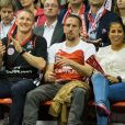 Franck Ribéry avec sa femme Wahiba et Bastian Schweinsteiger lors d'un match de basket de l'Euroleague opposant le FC Bayern Munich au Maccabi Tel Aviv, à Munich, le 3 avril 2014. Photo by Sabastian Widmann/Action Press/ABACAPRESS.COM