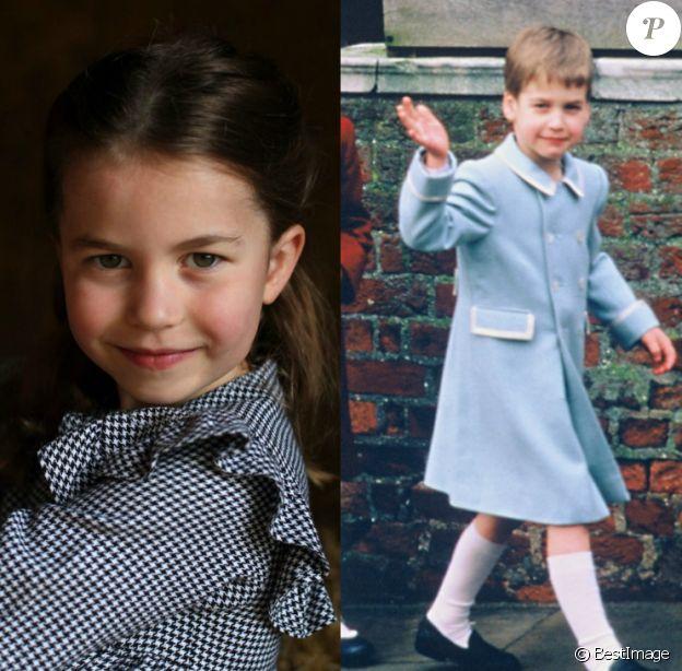 La princesse Charlotte sur un portrait réalisé par sa mère Kate Middleton pour ses 5 ans, le 2 mai 2020. Son père le prince William au même âge, en 1987.