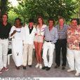 Pierre Meyrand (à droite) en août 1985 à Saint-Tropez avec Philip Lavil, Yves Corbassière et Bernard Montiel.