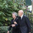 Valéry Giscard d'Estaing et sa femme Anne-Aymone - Obsèques de Liliane Bettencourt en l'église Saint-Pierre de Neuilly-sur-Seine le 26 septembre 2017.