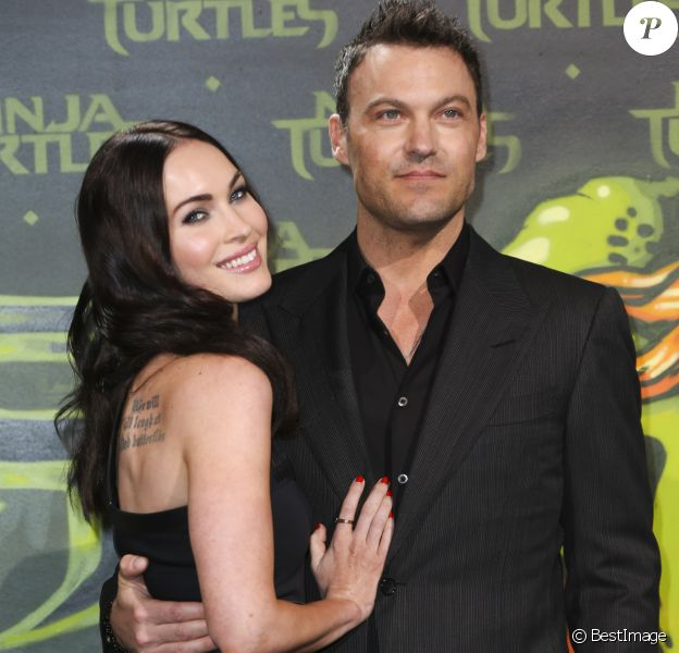 "Megan Fox et son mari Brian Austin Green - Première du film ""Teenage Mutant Ninja Turtles"" à Berlin, le 5 octobre 2014."