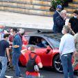 """Michel Ferry, le commissaire général du Grand Prix, Andréa Casiraghi et Charles Leclerc - Tournage du remake du court métrage """"C'était un rendez-vous"""" avec cette fois-ci comme acteur principal le pilote monégasque de l'écurie Ferrari C.Leclerc au volant d'une Ferrari SF90 Stradale sur le parcours du Grand Prix de Monaco bouclé pour l'occasion durant deux heures le 24 mai 2020. Le réalisateur français en 1976 avait filmé pendant 8 minutes le parcours étourdissant d'une Mercedes lancée à très haute vitesse dans les rues de Paris, au petit matin. Alors que le 78ème Grand Prix de Monaco devait se dérouler ce dimanche 24 mai, C. Lelouch a symboliquement fait un Grand Rendez-Vous avec C. Leclerc. A eux deux, ils ont fait le Grand Prix 2020. Le prince A. de Monaco entouré du président de Ferrari J. Elkann, de ses neveux A. et P. Casiraghi avec son femme, B. Borromeo, mais aussi du maire de la Principauté M. G. Marsan, le ministre de l'intérieur P. Cellario et la direction de l'Automobile Club de Monaco. © Bruno Bebert/Bestimage"""