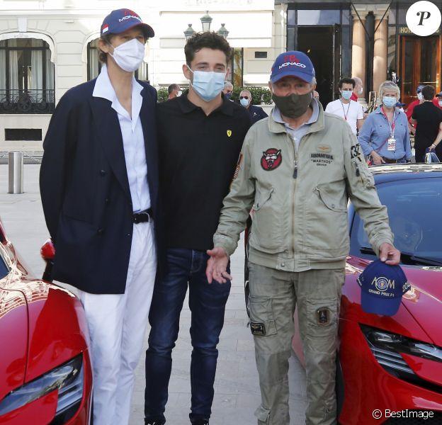 """John Elkann (Patron de Ferrari), Charles Leclerc et Claude Lelouch - Tournage du remake du court métrage """"C'était un rendez-vous"""" avec cette fois-ci comme acteur principal le pilote monégasque de l'écurie Ferrari C.Leclerc au volant d'une Ferrari SF90 Stradale sur le parcours du Grand Prix de Monaco bouclé pour l'occasion durant deux heures le 24 mai 2020. © Dylan Meiffret/Nice-Matin/Bestimage"""
