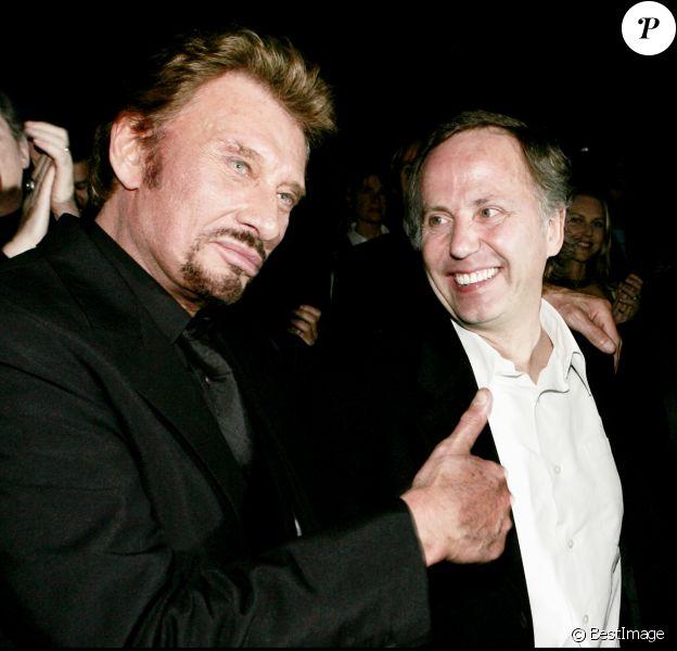 """Johnny Hallyday et Fabrice Luchini, le réalisateur Laurent Tuel - Première du film """"Jean-Philippe"""" à Paris en 2006."""