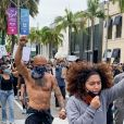 Le mannequin Jeremy Meeks manifeste avec le mouvement Black Lives Matter contre les violences policières, suite à la mort de George Floyd. Los Angeles, le 30 mai 2020.