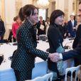 L'actrice britannique Emma Watson et le président de la République française Emmanuel Macron lors de la première réunion du conseil consultatif pour l'égalité entre les femmes et les hommes au Palais de l'Elysée, à Paris, en France, le 19 février 2019. © Jacques Witt/Pool/Bestimage