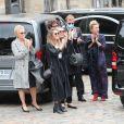 Joëlle Bercot (femme de Guy Bedos), Victoria Bedos (fille de Guy Bedos), Muriel Robin et sa compagne Anne Le Nen - Hommage à Guy Bedos en l'église de Saint-Germain-des-Prés à Paris le 4 juin 2020.