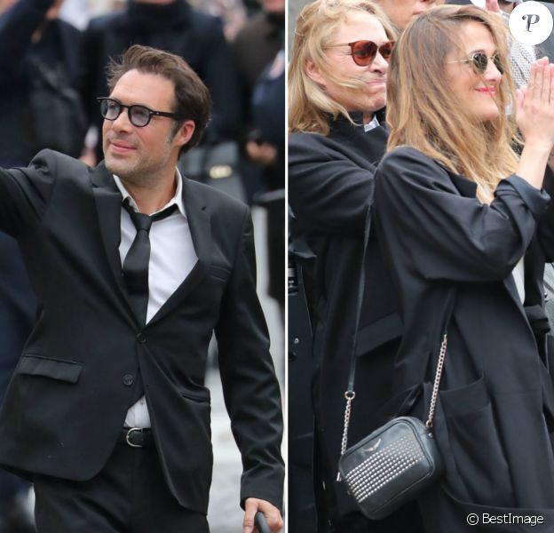 Nicolas et Victoria Bedos - Hommage à Guy Bedos en l'église de Saint-Germain-des-Prés à Paris le 4 juin 2020.
