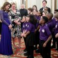 """Kate Middleton, duchesse de Cambridge, assiste au dîner de gala à l'occasion du 25 ème anniversaire de l'association caritative """"Place2Be"""" à Buckingham Palace à Londres, le 9 mars 2020."""