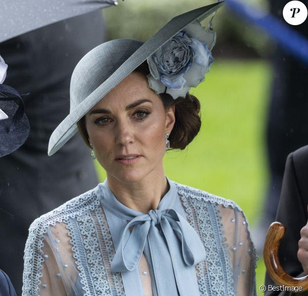 Catherine (Kate) Middleton, duchesse de Cambridge - La famille royale britannique et les souverains néerlandais lors de la première journée des courses d'Ascot 2019, à Ascot, Royaume Uni, le 18 juin 2019.