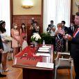 Christian Estrosi, maire de Nice, célébrait le 5 juin 2020 le premier mariage post-confinement, celui de Morgane Bailet et Michael Landi. © Lionel Urman/Bestimage