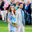La princesse Sofia de Suède (Sofia Hellqvist) et son mari le prince Carl Philip de Suède - La famille royale de Suède célèbre l'anniversaire (42 ans) de la princesse Victoria de Suède à la Villa Solliden à Oland en Suède, le 14 juillet 2019.