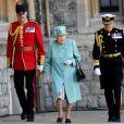 La reine Elisabeth II d'Angleterre assiste à une cérémonie militaire célébrant son anniversaire au château de Windsor dans le Bershire, le 13 juin 2020.