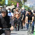 Exclusif - Jeremy Meeks participe à une manifestation contre les violences policières et le racisme, en soutien au mouvement Black Lives Matter. Beverly Hills, le 6 juin 2020.