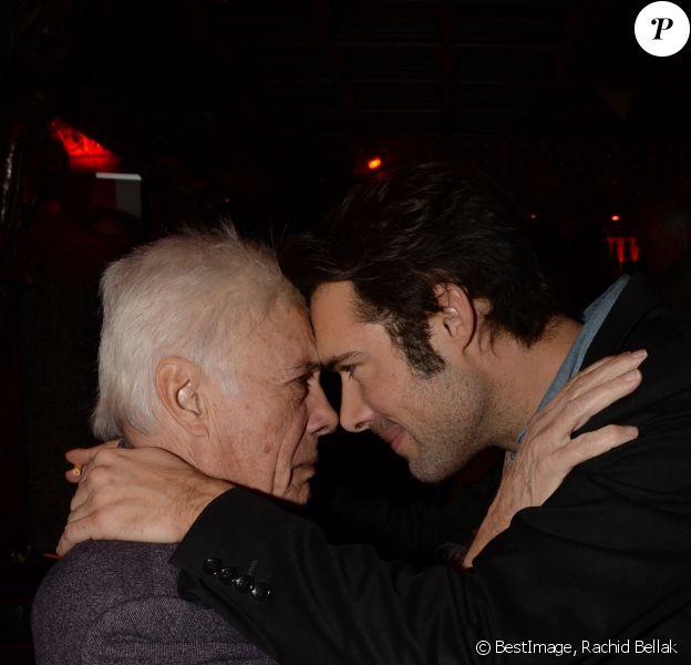 """Guy Bedos et son fils Nicolas Bedos - After-party du film """"Mr & Mme Adelman"""" au Raspoutine à Paris, le 19 décembre 2016. © Rachid Bellak/Bestimage"""