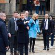 Le président de la république Emmanuel Macron et la Première Dame Brigitte Macron à la sortie de la mairie du Touquet après avoir voté pour le premier tour des élections municipales le 15 mars 2020. © Tiziano Da Silva / Bestimage