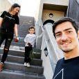 Claude Dartois (Koh-Lanta) heureux avec sa belle Virginie et leur fils Andrea.