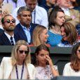"James Middleton, sa compagne Alizee Thevenet, Carole Middleton et Pippa Middleton à la finale homme du tournoi de Wimbledon ""Novak Djokovic - Roger Federer (7/6 - 1/6 - 7/6 - 4/6 - 13/12)"" à Londres, le 14 juillet 2019."