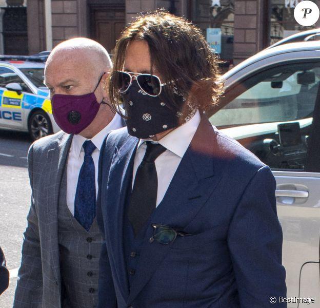 Johnny Depp arrive à la cour royale de justice à Londres, pour entamer le procès pour diffamation contre le magazine The Sun Newspaper. Le 7 juillet 2020