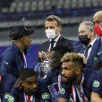 Le Président français Emmanuel Macron assiste à la finale de la Coupe de France entre le Paris Saint-Germain et l'AS Saint-Etienne au Stade de France. Saint-Denis, le 24 juillet 2020. © Federico Pestellini/Panoramic/Bestimage