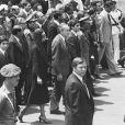 Obsèques du Shah d'Iran au Caire en 1980, en présence de son épouse Farah Diba, ses fils Reza et Ali Reza, ses filles Farahnaz et Leila, le président américain Richard Nixon et le président égyptien Anouar El Sadate.