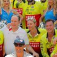 Le prince Albert II de Monaco et la princesse Charlène de Monaco lors du Water Bike Challenge, au profit de la Fondation princesse Charlene de Monaco au départ du Yacht Club de Monaco le 17 juin 2018. © Claudia Albuquerque/Bestimage