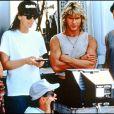 Patrick Swayze sur le tournage de Point Break en 1991 avec Keanu Reeves