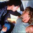 Patrick Swayze sur le tournage de Point Break avec Keanu Reeves en 1991