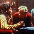 Patrick Swayze sur le tournage de Ghost avec Whoopi Goldberg en 1989