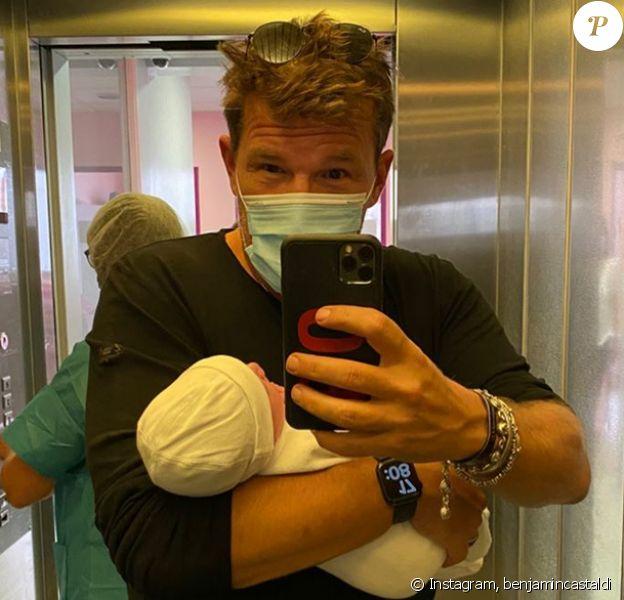 Benjamin Castaldi avec son fils dans les bras sur Instagram