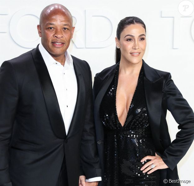 Dr. Dre, Nicole Young - Les célébrités posent avant d'assister au défilé Tom Ford: Autumn/Winter 2020 aux Milk Studios dans le quartier de Hollywood à Los Angeles