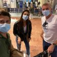 Christophe Beaugrand, Iris Mittenaere et Denis Brogniart à l'aéroport de Nice, le 14 septembre 2020