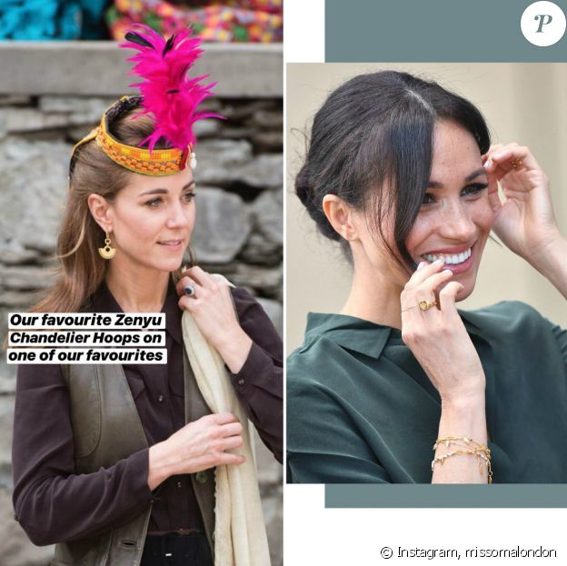Kate Middleton (en 2019) et Meghan Markle (en 2018) portant des bijoux Missoma London.