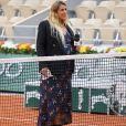 Marion Bartoli, enceinte, lors du premier tour des internationaux de tennis de Roland Garros à Paris le 28 septembre 2020. © Dominique Jacovides / Bestimage