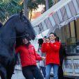 La princesse Stéphanie de Monaco fait une photo d'un cheval lors du photocall de présentation du 44ème Festival International du Cirque de Monte Carlo à Monaco le 14 janvier 2020. Le Festival se déroule du 16 au 26 janvier 2020. © Claudia Albuquerque / Bestimage