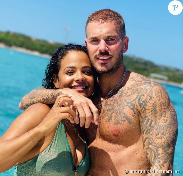 M. Pokora et Christina Milian lors de vacances, été 2020.