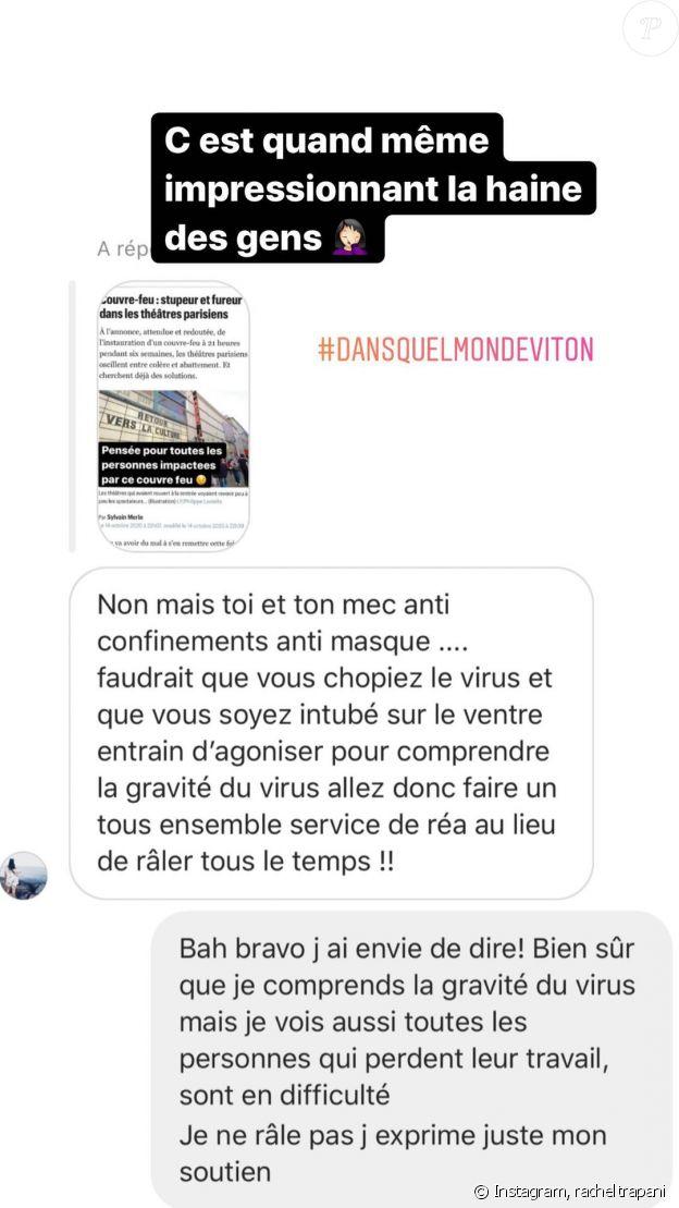 Rachel Legrain-Trapani clashée pour un message sur le couvre-feu, sur Instagram.