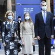 Le roi Felipe VI, la reine Letizia, la princesse héritière Leonor, la princesse Sofia et la reine émérite Sofia d'Espagne arrivent à la cérémonie de remise des prix de la princesse des Asturies à l'hôtel Reconquista à Oviedo le 16 octobre 2020