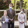 Le roi Felipe VI et la reine Letizia d'Espagne, la princesse Leonor, l'infante Sofia d'Espagne lors de la remise du prix de la ville exemplaire des Asturies Somao, Asturies, Espagne, 17 octobre 2020.