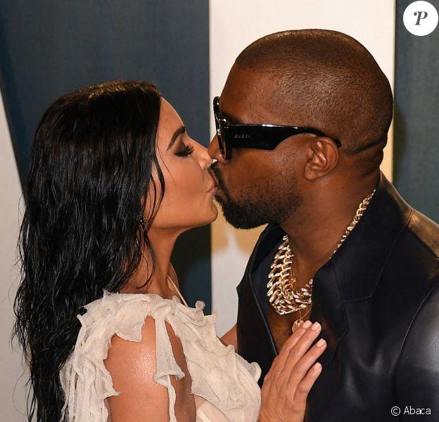 Kim Kardashian et Kanye West lors de la 92e cérémonie des Oscars, le 9 février 2020 au Dolby Theatre de Los Angeles.