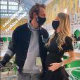 Le tennisman Lucas Pouille et son épouse Clémence Pouille, enceinte, ont assisté au défilé Louis Vuitton (collection prêt-à-porter printemps-été 2021) à la Samaritaine.
