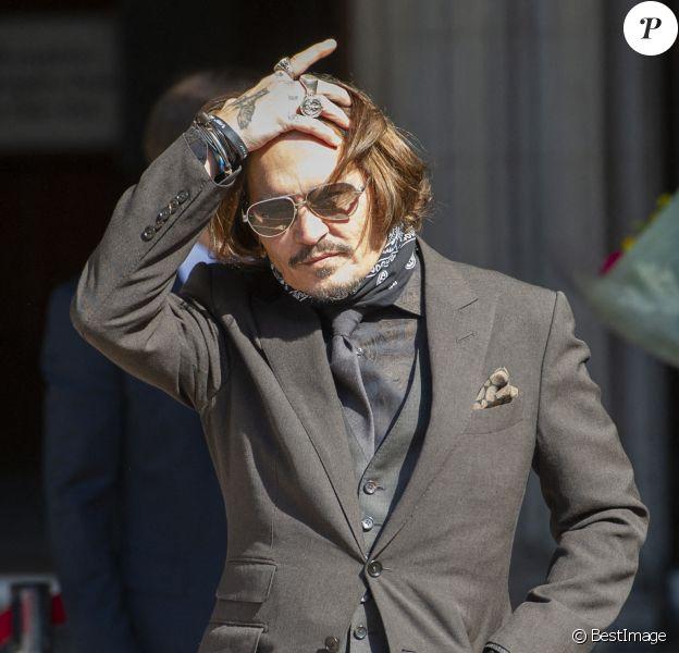 Johnny Depp à la cour royale de justice à Londres, pour le procès en diffamation contre le magazine The Sun Newspaper. Eté 2020.