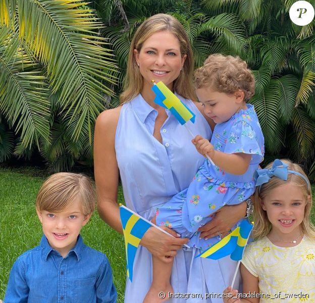 La princesse Madeleine de Suède et ses trois enfants, Leonore, Nicolas et Adrienne, sur Instagram, été 2020.