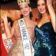 Archives- Linda Hardy, Miss Pays-de-Loire, élue Miss France avec Mareva Georges, Miss France 1991.