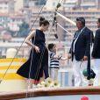 Charlotte Casiraghi et son fils Raphael et des invités et membres du Yacht Club - Le départ du 1er Monaco Globe Series à Monaco le 3 juin 2018. © Bruno Bebert/Bestimage