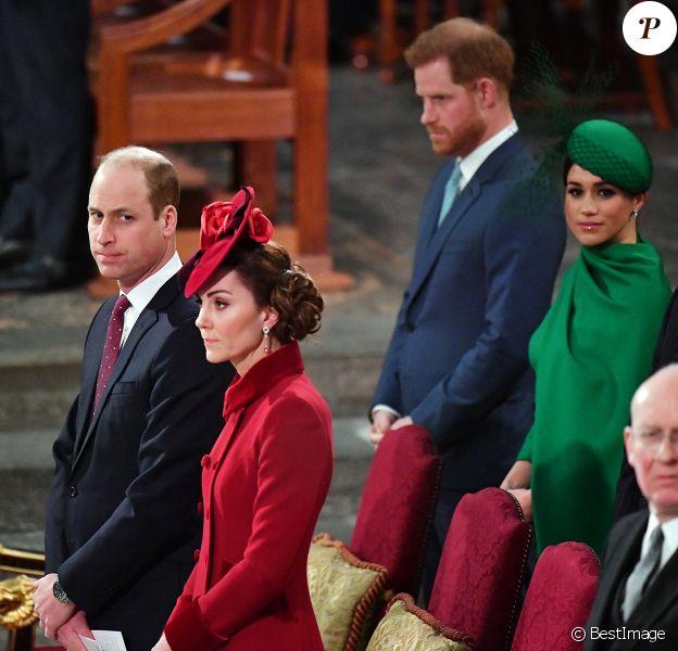 Le prince William, duc de Cambridge, et Catherine (Kate) Middleton, duchesse de Cambridge, Le prince Harry, duc de Sussex, Meghan Markle, duchesse de Sussex - La famille royale d'Angleterre lors de la cérémonie du Commonwealth en l'abbaye de Westminster à Londres, 2020.