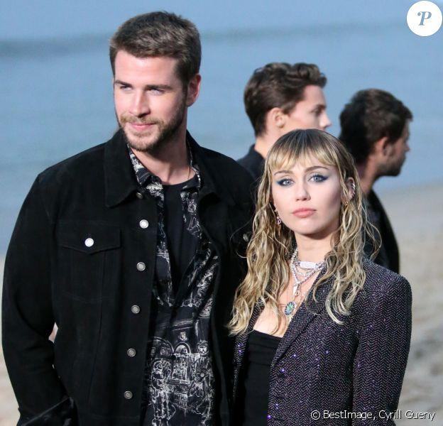 Liam Hemsworth et sa femme Miley Cyrus - Saint Laurent présente sa collection homme printemps-été 2020 à Malibu. ©Cyrill Gueny/Bestimage